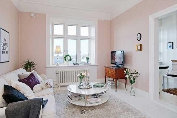 薄いピンクが甘すぎない!女の子が憧れる海の見える部屋-Gothenburg Apartment