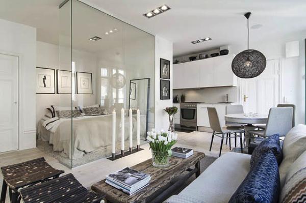 ガラス張りの寝室がポイント!住みたくなる北欧風アパート−Scandinavian Apartment