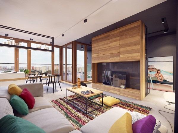 カラフルなラグがアクセント!リラックスして過ごせそうなモダンアパート-Colorful Modern Apartment