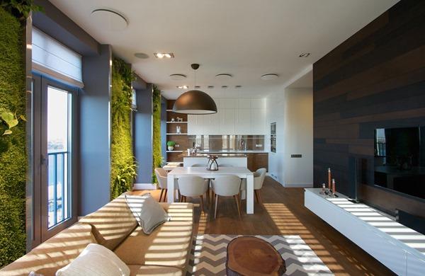 緑の壁が素晴らしい!爽やかですっきりとしたウクライナのアパートメント-Vertical Wall Gardens
