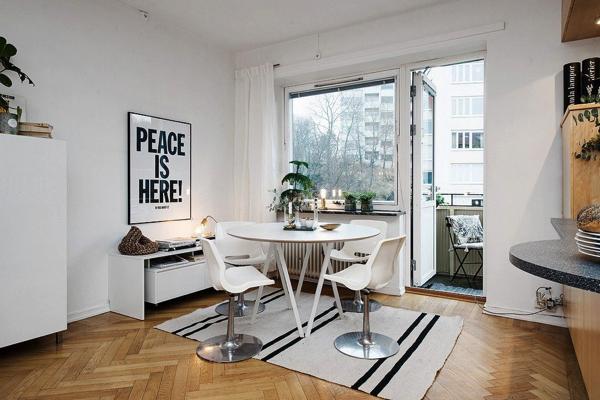 明るい気分になれる部屋!スウェーデンの1LDKアパートメント