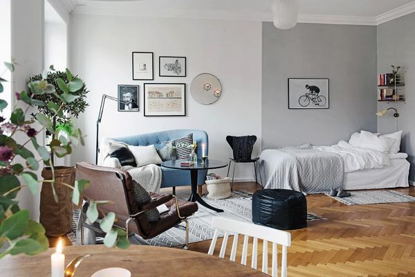 王道北欧コーディネートが可愛い!スウェーデンのワンルームアパートメント