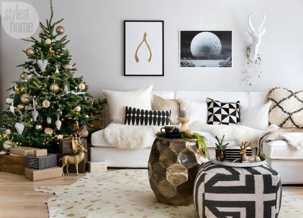 手作りオーナメントが可愛い!ハイセンスな北欧風クリスマスコーディネートの部屋