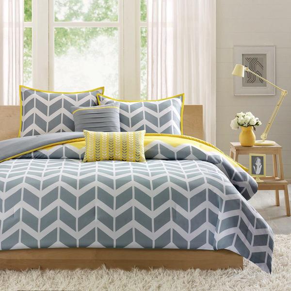 イエロー&グレーの組み合わせがこんなに可愛いなんて!真似したくなるベッドルームまとめ
